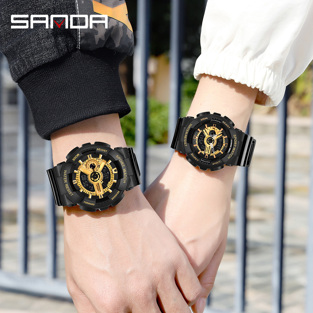 Sanda Men Watches Military Army G Style Sport  Wristwatch LED Digital Dual Display Couple Watch Waterproof Hand Light Clock Gift