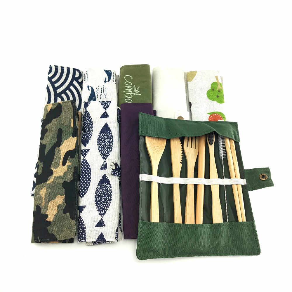 8Pcs แบบพกพาชุดอาหารเย็นไม้ไผ่ญี่ปุ่นช้อนส้อมมีดส้อมมีดช้อนตะเกียบท่องเที่ยวช้อนชาช้อนฟางบนโต๊ะอาหาร
