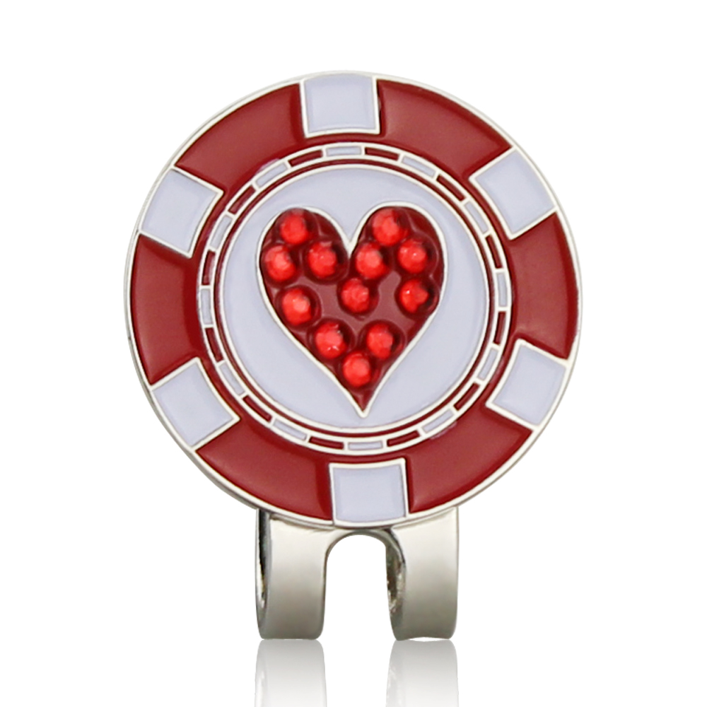 Bling Heart Shaped Golf Ball Mark W Magnetic Golf Hat Clip Golf Marker Mark Ball Position Drop Ship