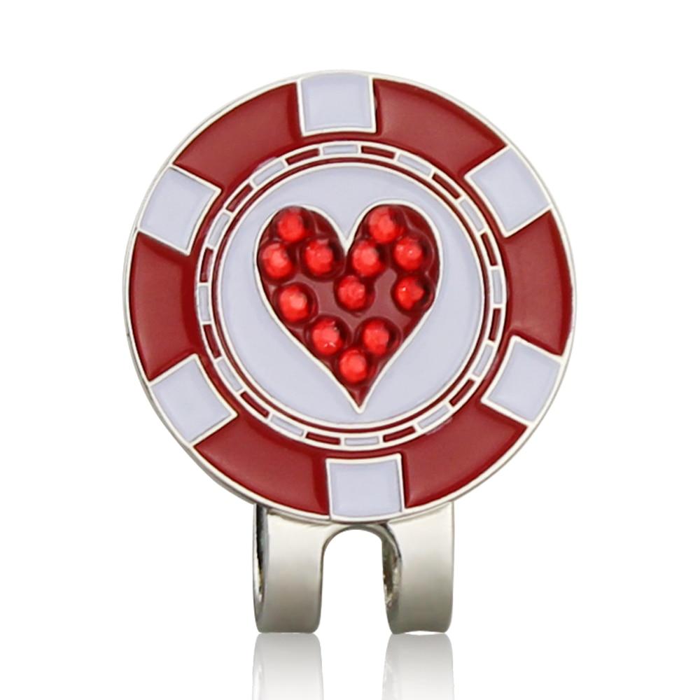 Bling Heart Shaped Golf Ball Mark w Magnetic Golf Hat Clip Golf Marker Mark Ball Position Drop Ship|Marks| |  - title=