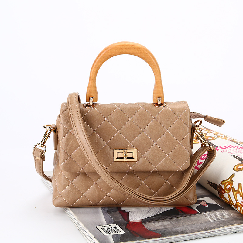 Elegant Handbag Women's Pu Chopped The Cotton Hand Bag Wooden Ring Handle Rhombus Pattern Shoulder Bag WOMEN'S Bag