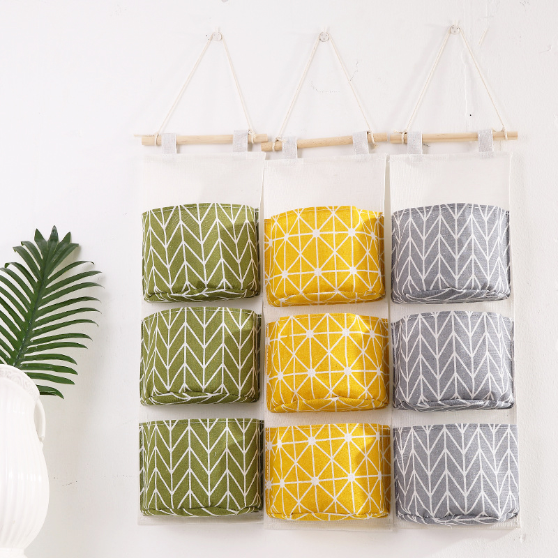 Flamingo Pattern Wall Mounted Wardrobe Organizer Sundries Storage Bag Jewelry Hanging Wall Pouch Hang Cosmetics Toys Organizer