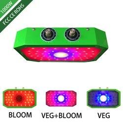 Roślin LED rosną światła pełne spektrum 1000W podwójne Chip czerwony/niebieski/UV/IR długie ukośne kąt światło dla roślin rosnących w pomieszczeniach BLOOM