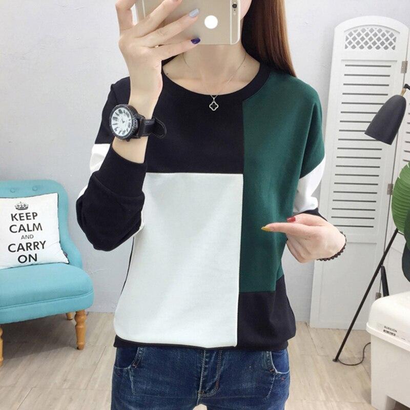 Tee Shirt Femme Plus Size Women T-shirt Autumn Winter Patchwork O-neck Camisetas Verano Mujer 2019 Long Sleeve T Shirt Vintage