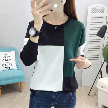 tee shirt femme plus size women t-shirt autumn winter patchwork o-neck camisetas verano mujer 2020 long sleeve t shirt vintage цена 2017