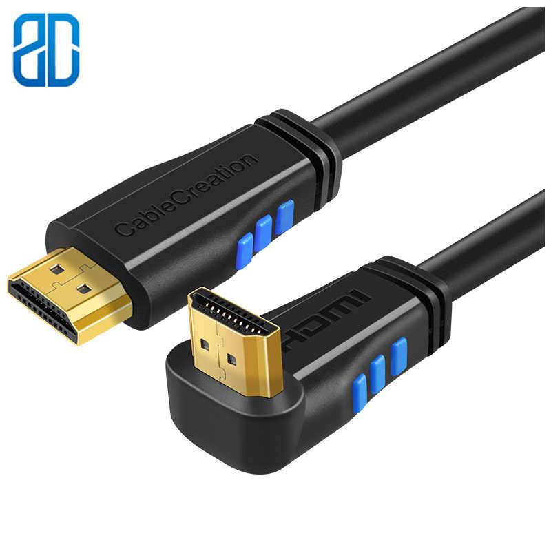 Kabel HDMI kąt w górę 270 stopni kabel 4K HDMI 2.0 pozłacane platerowane złącze obsługa 4K (60Hz) ultra hd 3D Video Ethernet Audio