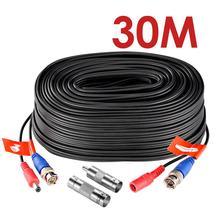ZOSI 100ft/30M טלוויזיה במעגל סגור טלוויזיה בכבלים BNC + DC Plug כבל עבור טלוויזיה במעגל סגור מצלמה DVR אבטחה שחור מעקב מערכת אבזרים