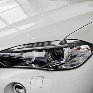 Image 4 - 2Pcs Koolstofvezel Auto Koplamp Wenkbrauwen Cover Interieurstickers Trim Decals Auto Accessoires Voor Bmw F15 X5 2014 2017