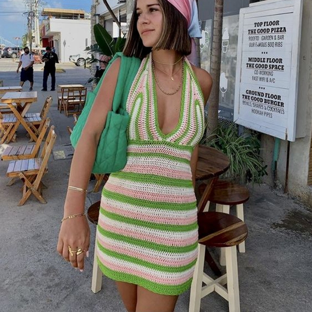 Beach Style Knitted Dress Chic Women Summer Sexy Backless Deep V-neck Halter Dress Y2K Streetwear Vacation Casual Vestido 2