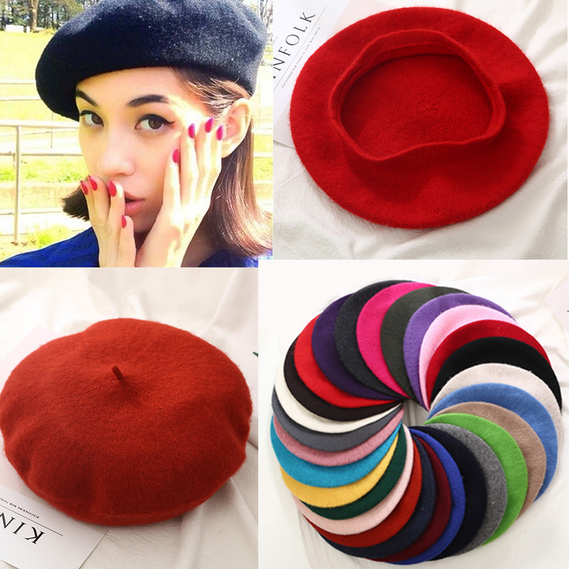 Spring Autumn Winter Knitted Women Hat Warm Wool Beret Winter Hat Solid Color Hats Berets Caps for Women Girls