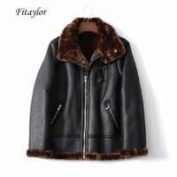 Fitaylor Faux Lamb Leather Jacket Women Winter Warm Zipper Jacket Coat Female Faux Leather Lambs Wool Fur Collar Thick Outerwear