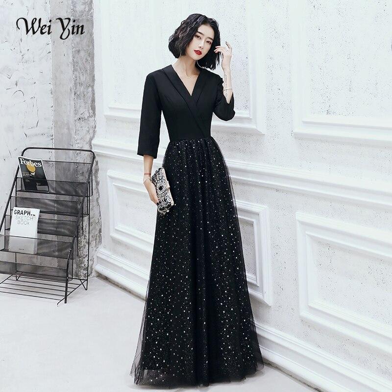 AE0156 wei yin Sexy robes de soirée de fête longue luxe formelle femmes élégante robe de soirée de Gala noir col en V robe robes de bal