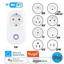 Tuya WIFI Smart Socket Smart Plug EU UK AU BR FR JP US Ita Chi Plug 10A APP Control Alexa Google Home Energy Monitor kWh Meter