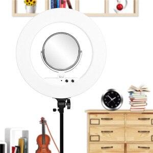 Image 5 - Fosoto 18 pouces éclairage photographique 100W Led anneau lumière vidéo anneau lampe avec miroir Ringlight pour téléphone caméra Youtube maquillage