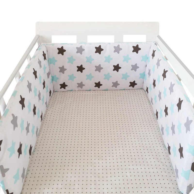1PCS Berço Bumpers no Berço Para Recém-nascidos de Algodão de Linho de Algodão Berço Bumper Protetor De Cama Cinza Estrelas Do Bebê crianças de impressão Da Cama