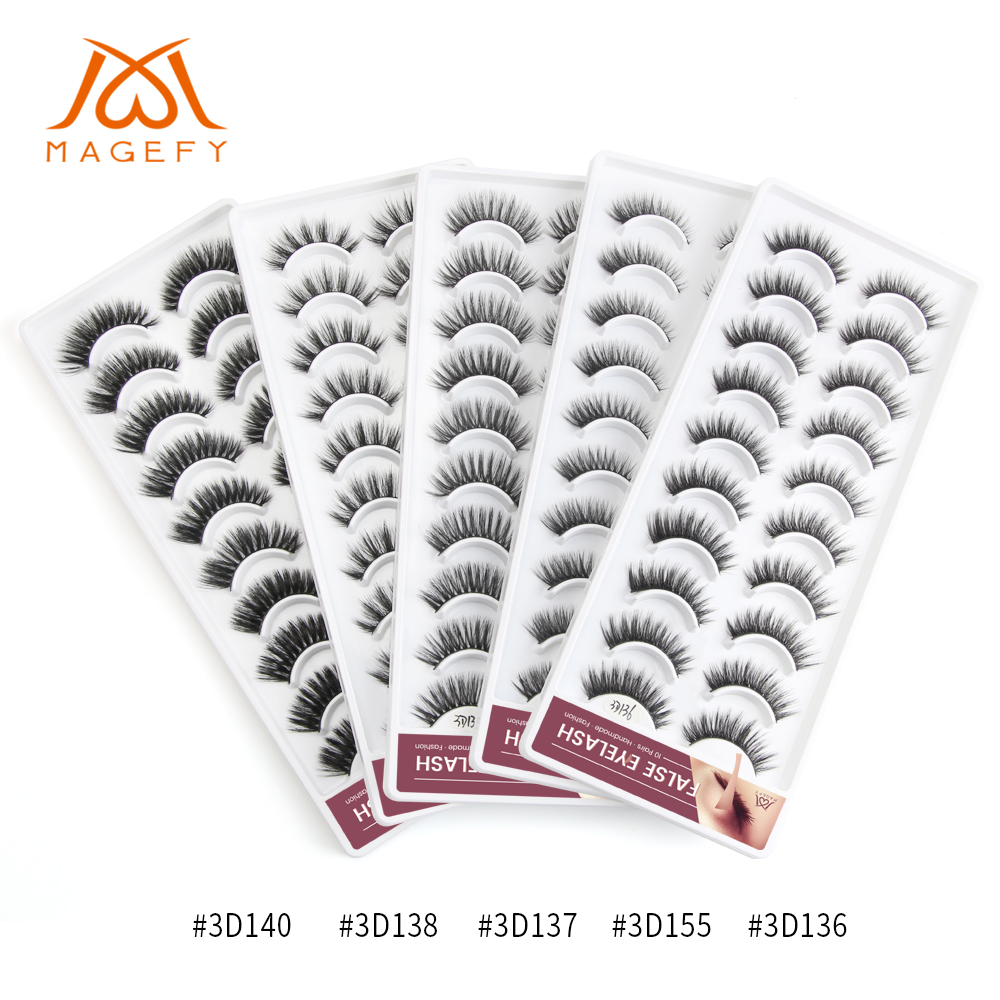 2019 NEW 2/10 Pairs Mink Eyelashes Natural False Eyelashes Soft Volume 5 Styles 3D Faux Mink Hair Lashes Extension Makeup Kit