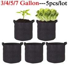 5Pcs 3/4/5/7 Gallon Groeien Zakken Vilt Grow Bag Tuinieren Stof Groeien Pot Groente Groeiende Planter tuin Bloem Planten Potten