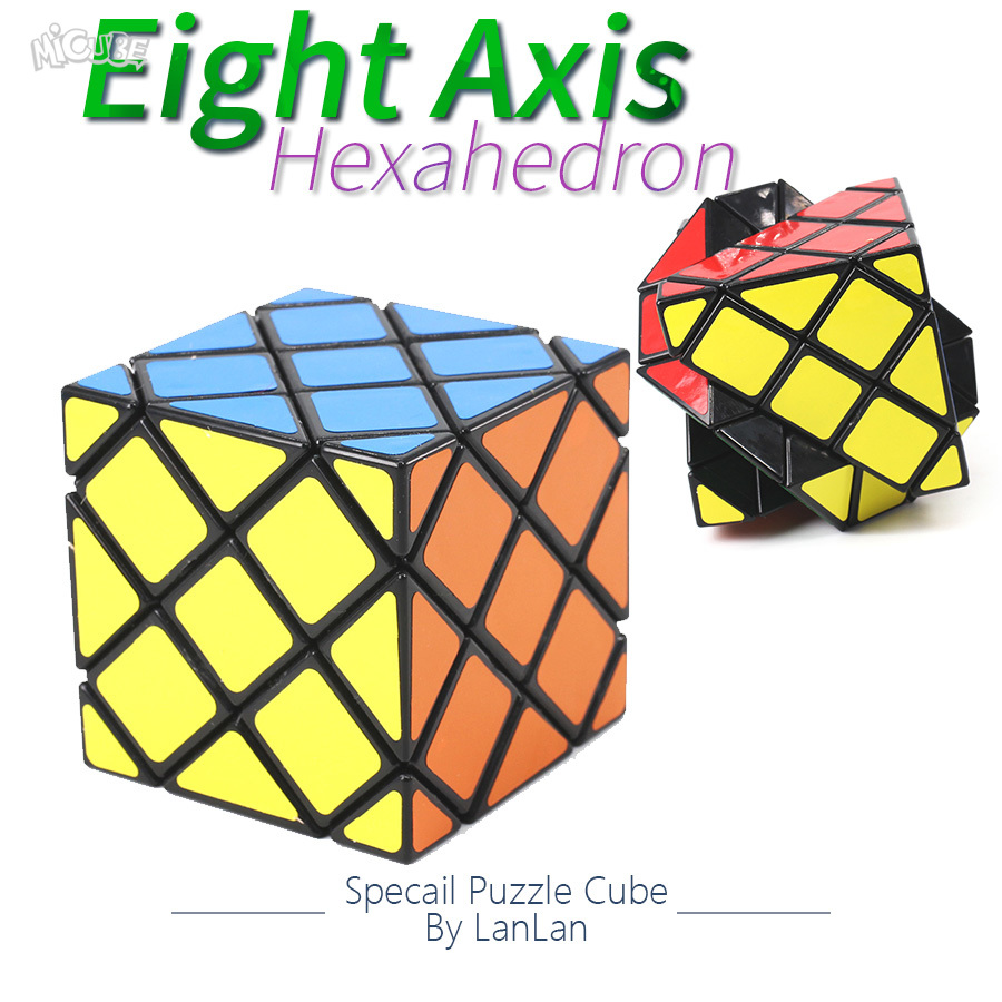 LanLan Puzzle Cube Eight Axis Hexahedron 6 Surface Skewbed Magic Cube Professional Speed Puzzle Antistress Toys For Children