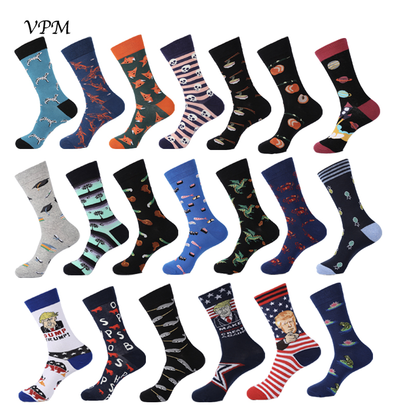 VPM New Colorful Cotton Men's Crew Socks Happy Funny Fox Space Trump Dino Dog Cool Dress Warm Socks For Wedding Christmas Gift