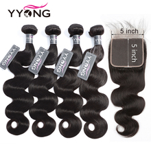 Yyong Hair Brand 5x5 inch Closure With Bundles Brazilian Body Wave 5pcs Remy Human Lace Closures