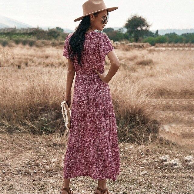 Floral Print Maxi Dress Women Boho Elegant V Neck Long Shirt Dress Summer Short Sleeve Long Dress Ladies 2021 Beach Sundress 2