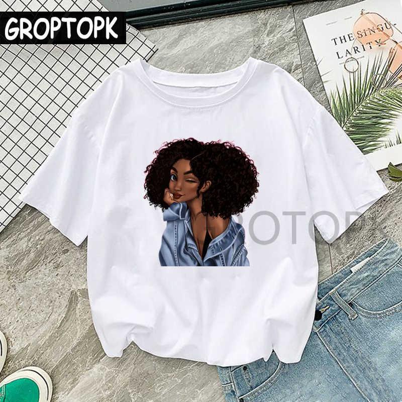 Крутая Черная Женская футболка с принтом меланина, Харадзюку, футболки для женщин, летняя хлопковая футболка в стиле хип-хоп, женская футболка, модный топ