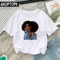T-shirt Femme imprimé mélanine noir fille T-shirt Harajuku pour femmes été Hip Hop coton T-shirt Femme Vogue Top