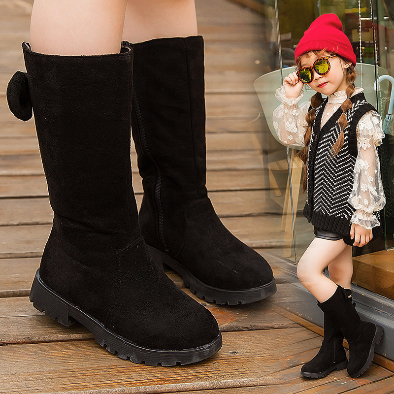 Knee High Bow Children Girl Winter Shoes Snow Boots Kid Waterproof Shoe Girls Fashion Long Boots 3 4 5 6 7 8 9 10 11 12 Year Old