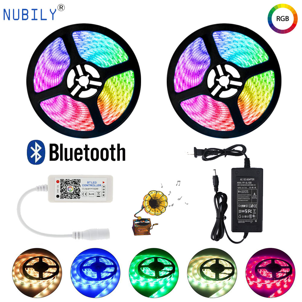 10M 300LED s 5050 Bluetooth RGB LED bande avec micro contrôleur de musique contrôle de téléphone intelligent 5M LED étanche adaptateur d'alimentation Fita 12V