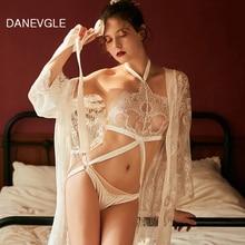 Ladies sexy nightgown bud silk gauze hanging neck conjoined sleepwear perspective temptation robe
