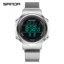 Sanda men's watch ladies fashion digital watch porous breathable ultra-thin LED waterproof couple electronic watch sports(China)