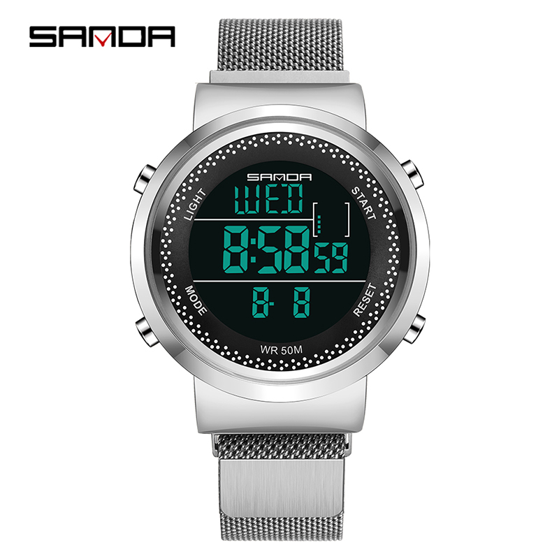 Sanda Men's Watch Ladies Fashion Digital Watch Porous Breathable Ultra-thin LED Waterproof Couple Electronic Watch Sports