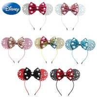 Disney lazos para chicas Minnie diadema Mickey orejas juego de las mujeres las orejas de pelo bandas de cabeza de princesa aro juguete de peluche chico regalo