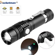 Lanterna led de 6200lm super clara, usb, t6/l2/v6, com zoom, para bicicleta, 18650 recarregável