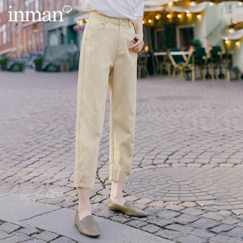 INMAN 2020 Spring New Arrival Literary Pure Color High Waist Button Leg Opening Nine cent Turnip Women PantPants & Capris   -