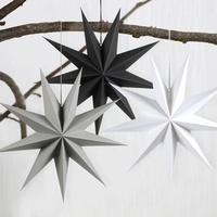 60cm 24 pulgadas de papel de farol de estrella s adornos de Navidad blanco negro gris farol de estrella adornos navideños para el hogar Decoración de la boda