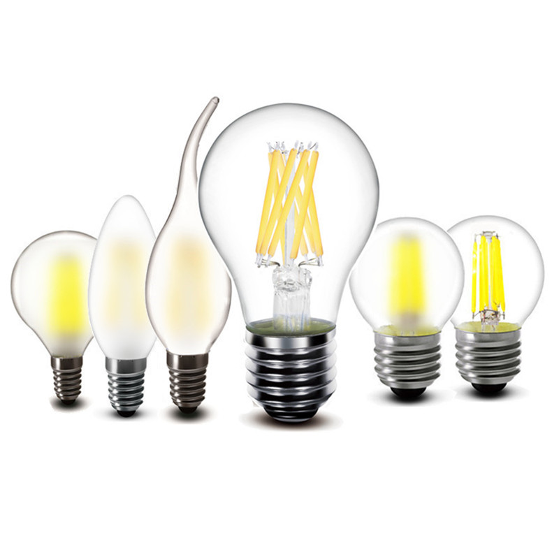 E27 E14 2W 4W 6W 8W LED Lamp A60 G45 C35 Frosted Glass Filament Bulb Edison Vintage Iron Light Replace 30w 60w Incandescent Lamp