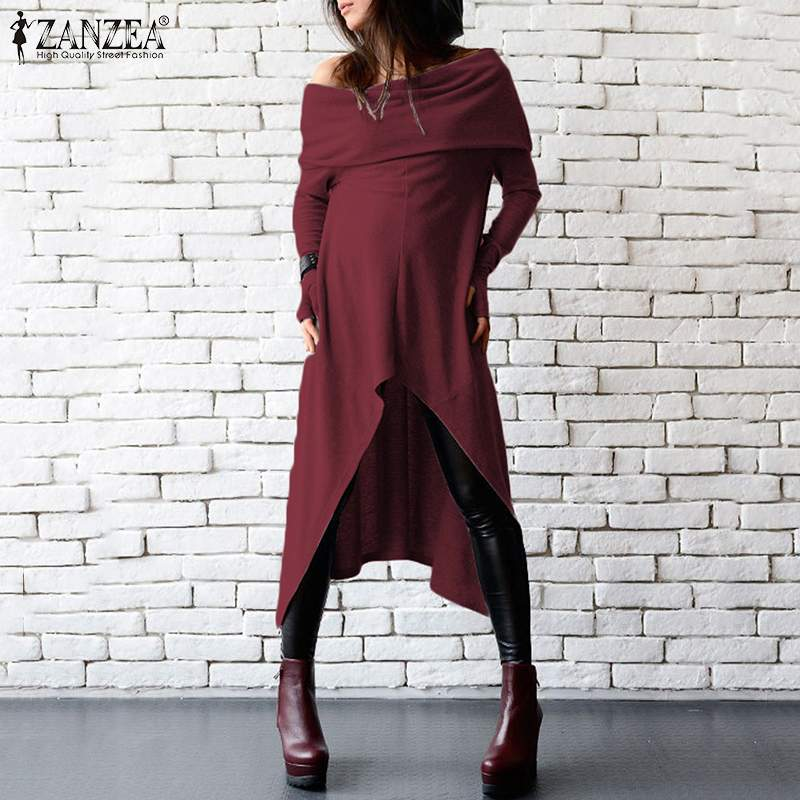 <font><b>Sexy</b></font> Off Shoulder <font><b>Dress</b></font> Women's Autumn Sundress 2019 ZANZEA Fashion Long Sleeve Asymmetrical Vestidos Female Robe Plus Size <font><b>5XL</b></font> image