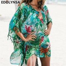 Туника для пляжа купальный костюм накидка шифоновое пляжное платье женская пляжная одежда бикини накидка Saida de Praia# Q523