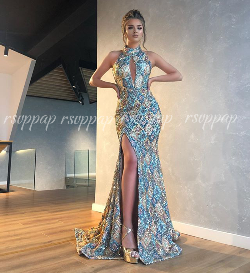 Long Evening Dresses 2020 Sexy High Slit Ladies Mermaid Style Vintage Sequin African Women Formal Evening Gowns