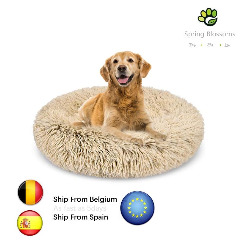 Letto per cani ciambella, cuscino in peluche Shag auto riscaldante lavabile in lavatrice antiscivolo animali domestici