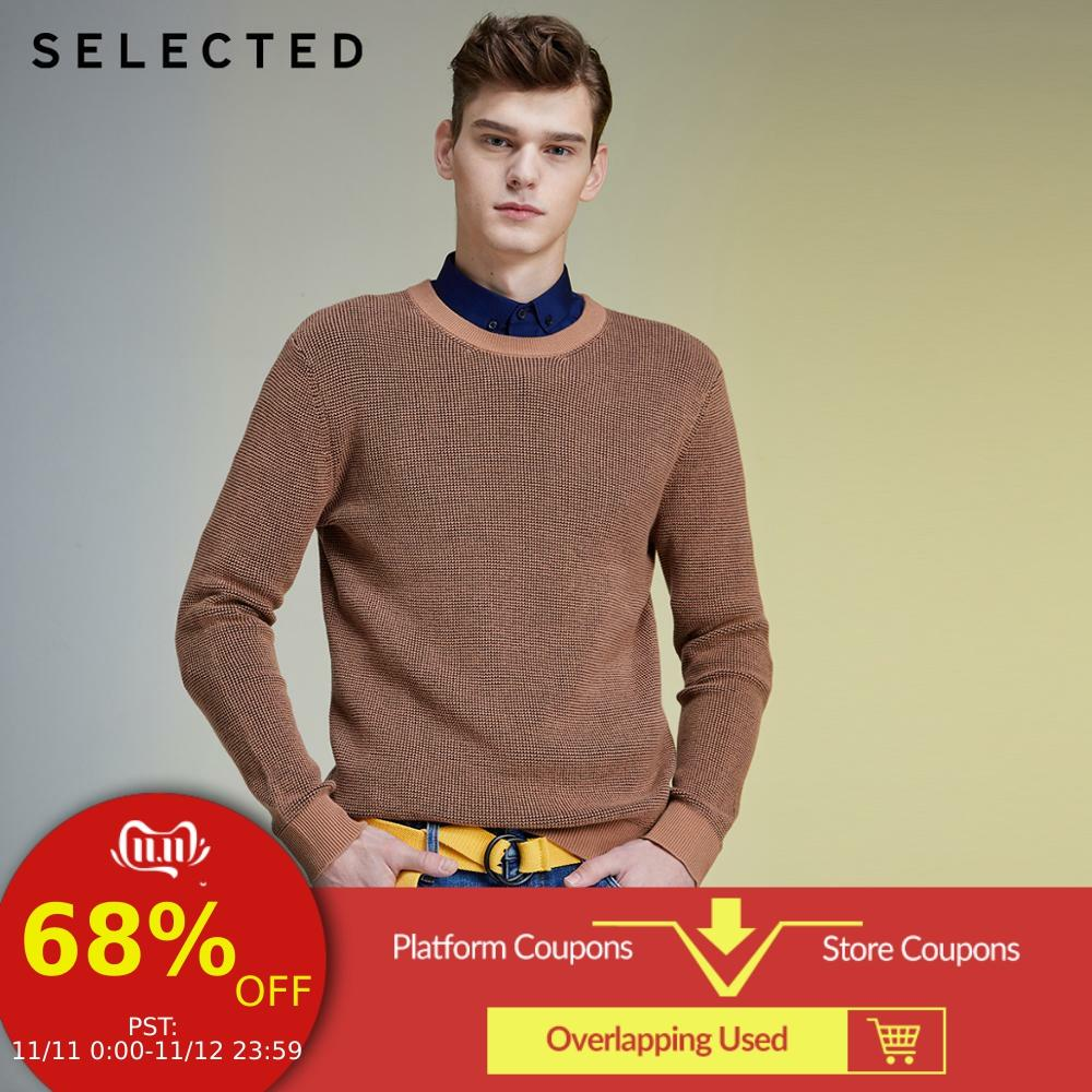 SELECTED Men's Autumn & Winter Pullovers 100% Cotton Round Neckline Sweater Knit LAB | 419425506
