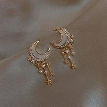 New Fashion Copper-zinc Alloy Star And Moon Earrings Charms Star Tassel Stud Earrings For Women Korean Jewelry 2020