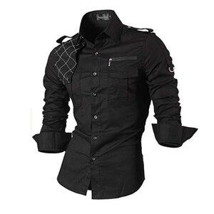 Image 1 - Jeansian גברים של שמלה מזדמן חולצות אופנה Desinger אופנתי ארוך שרוול Slim Fit 8371 Black2