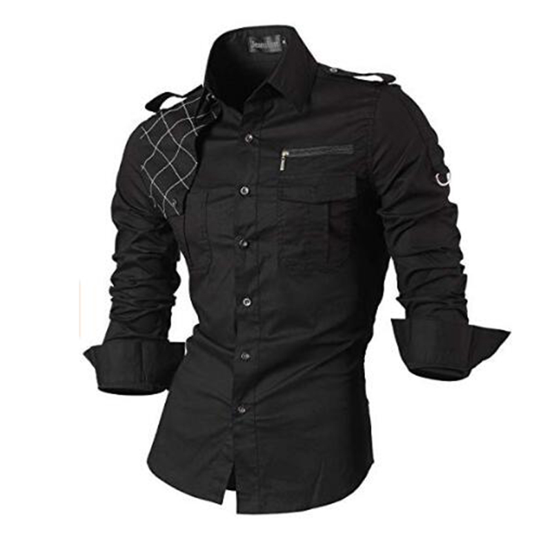 Jeansian Men's Casual Dress Shirts Fashion Desinger Stylish Long Sleeve Slim Fit 8371 Black2