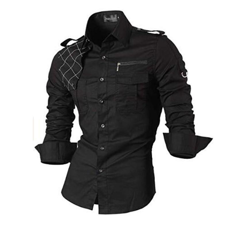 Jeansian Men's Casual Dress Shirts Fashion Desinger Stylish Long Sleeve Slim Fit 8371 Black2