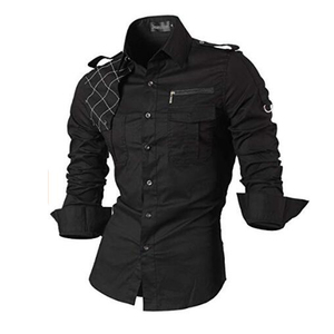 Image 1 - Jeansian Mens Casual Dress Shirts Fashion Desinger Stylish Long Sleeve Slim Fit 8371 Black2
