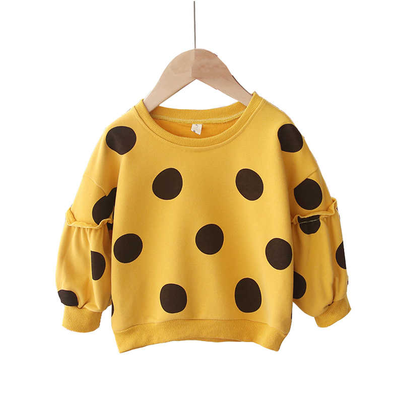 Toddler Girls Sweatshirt 2019 New Spring Autumn O-neck Kids Sweatshirts for Girls Dot Cotton Casual Children Tops Clothes