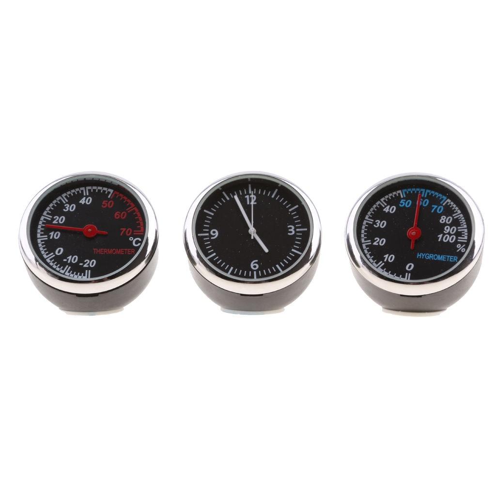 3PCS/Set ital Car Thermometer Hygrometer Quartz Clock Fit Autos Time
