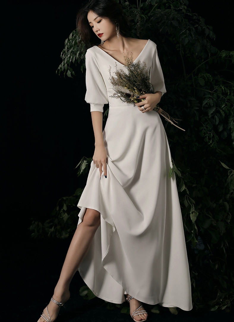 Simple Korea Wedding Dresses 2020 A-line Satin Bridal Gowns Half Sleeves Buttons Ankle Length Bridal Dresses Vestidos De Noiva